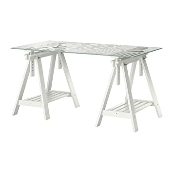 Amazon.com: Ikea Table, Egg Pattern Glass Top, White Trestle 12202.282.106:  Kitchen U0026 Dining