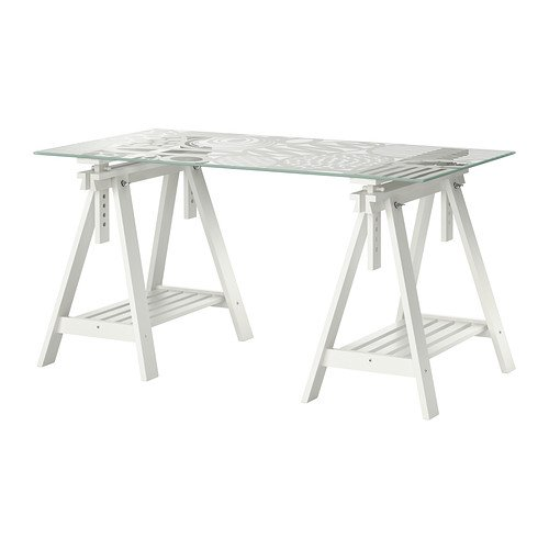 Ikea Table, egg pattern glass top, white trestle 12202.282.106 (Pine Trestle)