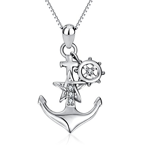 YFN 925 Sterling Silver Two-Tone Ship Anchor Rudder Pendant Necklace Jewelry for Women Girls(Pendant Size:27.515.5 mm)