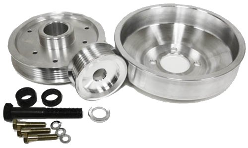 4.6L Compatible/Replacement for FORD MUSTANG GT 99-00 BILLET SERPENTINE PULLEY SET - MACHINED