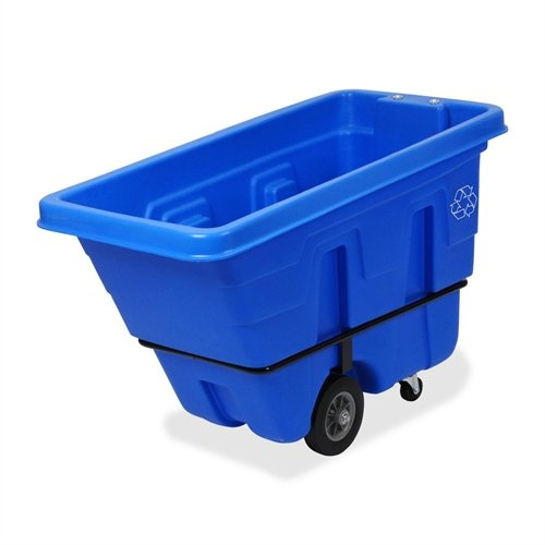 Continental 5840-1, Blue Tilt Truck Recycling Receptacle with White