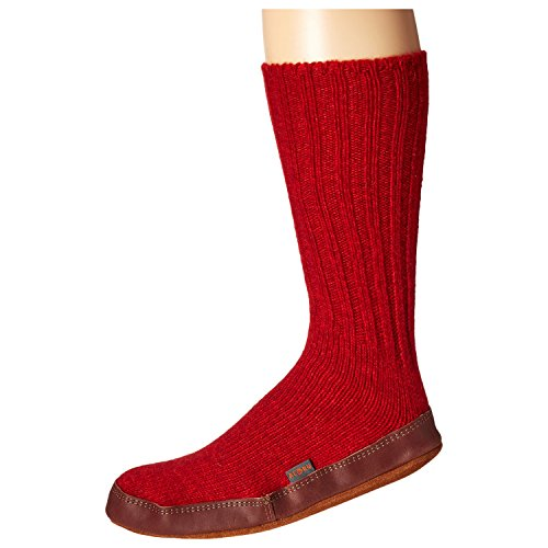 Acorn Unisex Slipper Sock, Crimson Ragg Wool, XX-Small(5-6 Women's) B US
