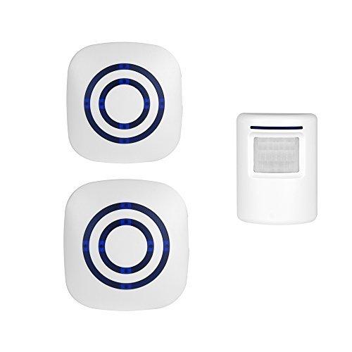 Driveway Motion Sensor Alarm Chime, Professional Wireless Digital Doorbell with PIR Sensor Infrared Detector Induction Alarm Door Bell Home Security with 2 Plug-in Receiver & 1 PIR Detector Alert