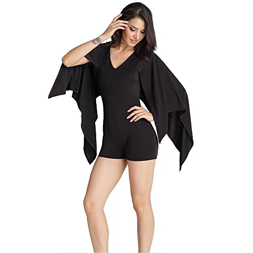 Collier Jumpsuit V Slim Black souris Glissière Manches À Pièce Pantalon Fermeture De En Short Chauve Unie Couleur dwwCTqZp