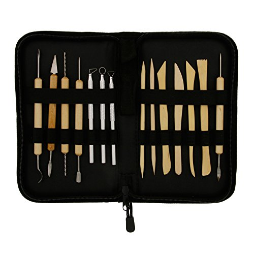 US Art Supply 14-Piece Pottery, Clay Sculpture & Ceramics Tool Set with Canvas Zippered Case by US Art Supply