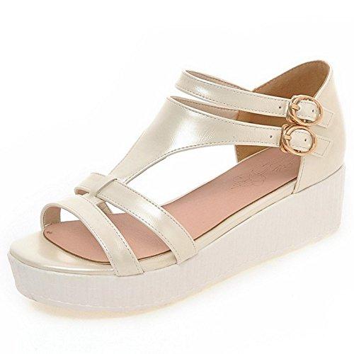 COOLCEPT Damen Sommer Durchgangiges Sandalen Schuhe Beige