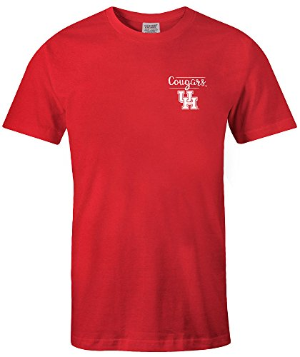 NCAA Houston Cougars Adult NCAA Sketchbook Comfort Color Short sleeve T-Shirt, Medium,Red
