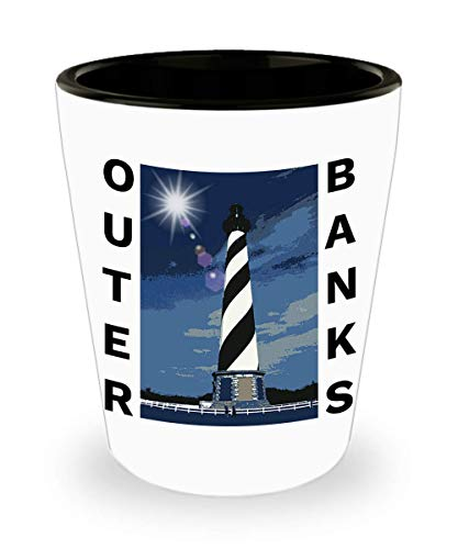 OBX Shot Glass Outer Banks Shot Glass NC Cape Hatteras Lighthouse North Carolina Christmas Birthday Gift Idea Him Dad Husband Ceramic White 1.5 oz