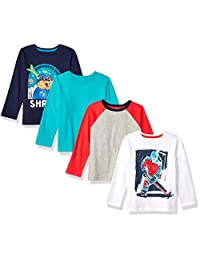Spotted Zebra Amazon Brand Boy's Toddler & Kids 4-Pack Long-Sleeve T-Shirts