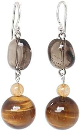NOVICA Multi-Gem Tigers Eye .925 Sterling Silver Beaded Earrings 'Goldenrod'