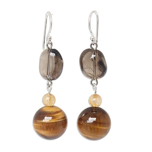 (NOVICA Multi-Gem Tiger's Eye .925 Sterling Silver Dangle Earrings, Goldenrod')