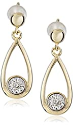 18k Yellow Gold Over Sterling Silver Miracle Plate Diamond Accent Drop Earrings