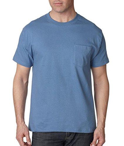 Hanes Short Sleeve Beefy-T Pocket T-Shirts, Denim Blue, Medium ()