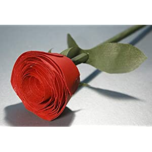 Wooden red rose handmade for 5 Year Anniversary, Romantic gift for her. Birthday flower, Thank you gift, Get well soon present 98
