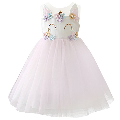 Girls Unicorn Dress up Costume Princess Dressing Gown Tutu Skirt Halloween Birthday Party Outfits for Kids Pageant Wedding Casual Photography Props Light Pink 7-8 Years by OwlFay