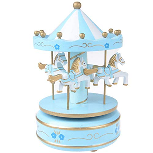 Music Boxes - 1pc Musical Carousel Horse Wooden Music Box Toy Child Baby Game Festival Gifts - Mechanical Plays Movement That Swan Wars Lure Girls Less Movies Engrave Horse Little Sunshine Night ()