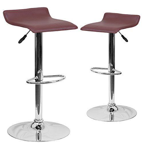 Flash Furniture 2 Pk  Contemporary Burgundy Vinyl Adjustable Height Barstool With Chrome Base