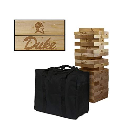 Duke Blue Devils Engraved Wood - Victory Tailgate NCAA Giant Wooden Tumble Tower Game Set - Duke University Blue Devils