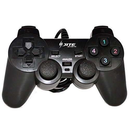 Fashionlive Black USB Plug Wired PC Gamepad Game Controller Shock Vibration Joystick Rumble Pad Joypad Control for PC Computer Laptop