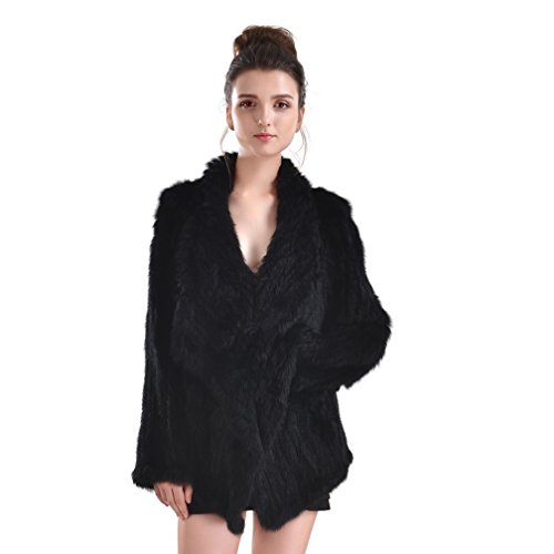 OLLEBOBO New Women's Genuine Rabbit Fur Coat Cardigan Fashion and Warm black by OLLEBOBO (Image #3)
