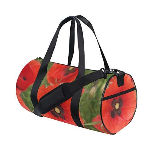 OuLian Duffel Bag Poppy Flowers Stylish Women Garment Gym Tote Bag Best Sports Bag for Boys
