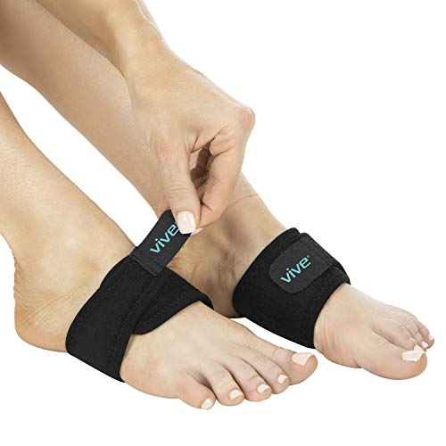 Vive Arch Support Brace (Pair) - Plantar Fasciitis Gel Strap for Men, Woman - Orthotic Compression Support Wrap Aids Foot Pain, High Arches, Flat Feet, Heel Fatigue - Insert for Under Socks and Shoes