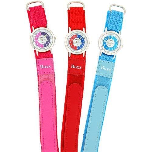 Amazon.com: Boxx Girls Time Teacher White Dial Pink Easy Fasten Strap + Telling Time Award: Watches