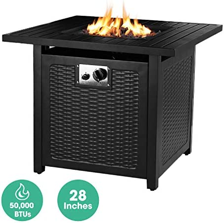 OKVAC 28 Propane Gas Fire Pit Table, 50,000 BTU Square Fire Bowl, Outdoor Auto-Ignition Fireplace with CSA Certification, Waterproof Cover, Lava Rock, for Balcony Garden Patio Courtyard