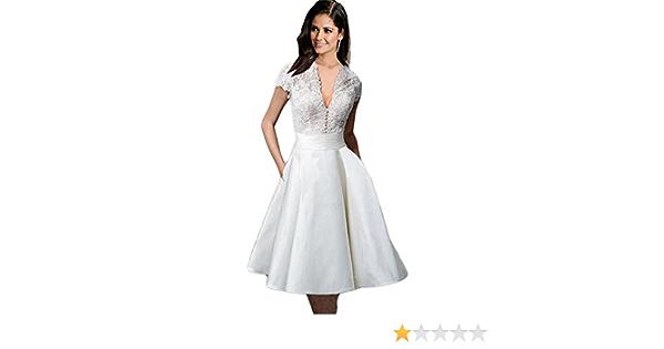 Haroty Mujer Manga Corta Escote V Elegantes Encaje Vestidos de Novia Vestidos de Fiesta para Bodas (XXL, Blanco): Amazon.es: Ropa y accesorios