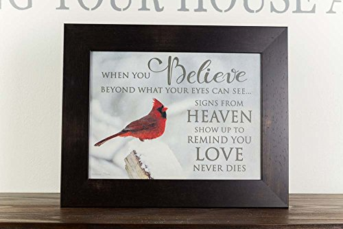 When you Believe Heaven Miracles Cardinal Red Bird Sympathy Religious Framed Art 16x20