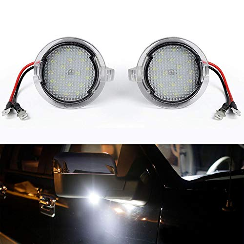 GemPro 2pcs High Power Xenon White LED Under Side Mirror Puddle Light Lamp Assembly For Ford Edge Flex Raptor Explorer Fusion Mondeo Taurus F150 Mustang Ranch Heritage Expedition