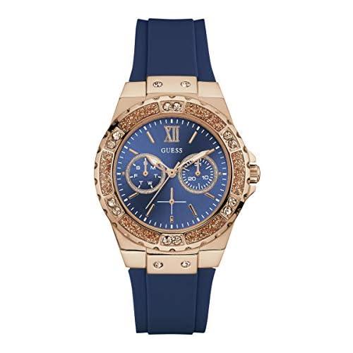 chollos oferta descuentos barato Guess Reloj Analógico para Mujer de Cuarzo con Correa en Silicona W1053L1