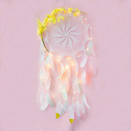 FUNFLOWERS Dream Catchers Wall Decor Handmade Extra Large Dream Catcher for Bedroom Decor with Artificial Flowers, Colorful Feathers and Mobile LED Lights USB (Yellow) ()
