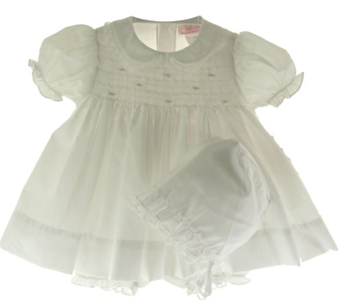 Petit Ami Infant Baby Girls White Smocked Dress Bonnet Bloomer (Smocked Bloomer Set)