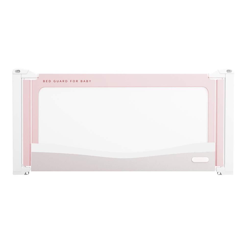 HAIYU- 幼児の赤ちゃんのためのベッドフェンス 85100センチメートルの高さ調節可能 子供用安全ベッドガード 衝突防止綿 通気性ネット150/180/200 cm (Color : Pink, Size : 200cm) 200cm Pink B07TV7HG44