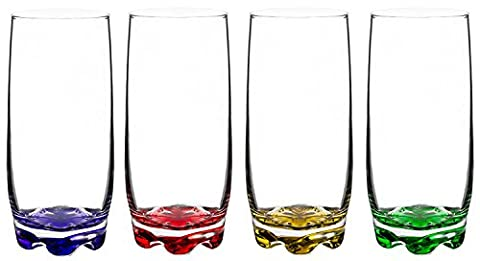 Splash of Color Water & Beverage Highball Glasses, 12.5 Ounce - Set of 4 - 12.5 Ounce Beverage Glass