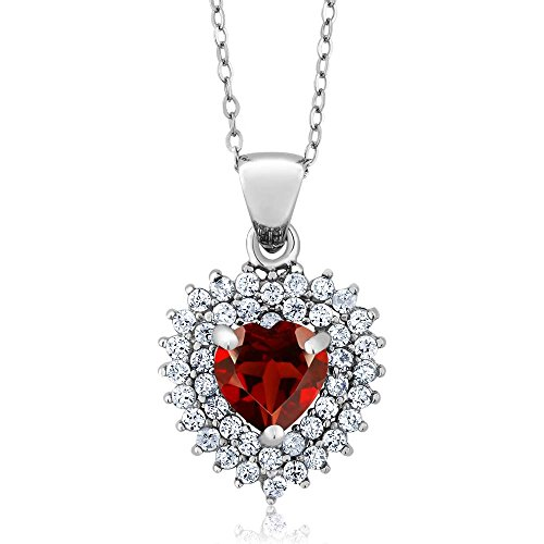 Gem Stone King Sterling Silver Heart Shape Red Garnet Gemstone Birthstone Pendant necklace (2.47 cttw, With 18 Inch Silver Chain)