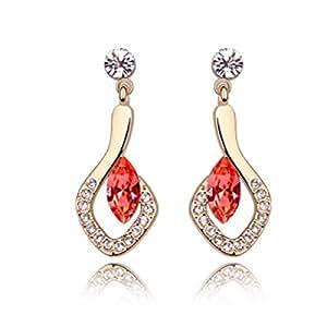 Cristal Ornaments Plated Gold - Vidrio Luna Pendientes Pendientes Mujer,Red