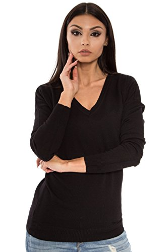 KNITTONS Women's 100% Italian Merino Wool Knit Long Oversized Deep V Neck Sweater Pullover (Large, Black) (Gauge Wool Fine Merino)
