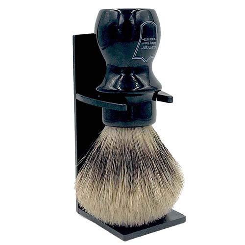 Parker Safety Razor Handmade Deluxe''Mug Shaving Brush'' - 100% Pure Badger Brush - Stand Included (Black) by Parker Safety Razor