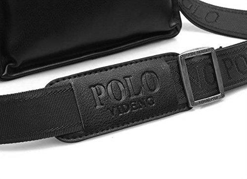Bolso bandolera de hombre negro bolso bandolera + ajustable negro correa de tela Polo Videng