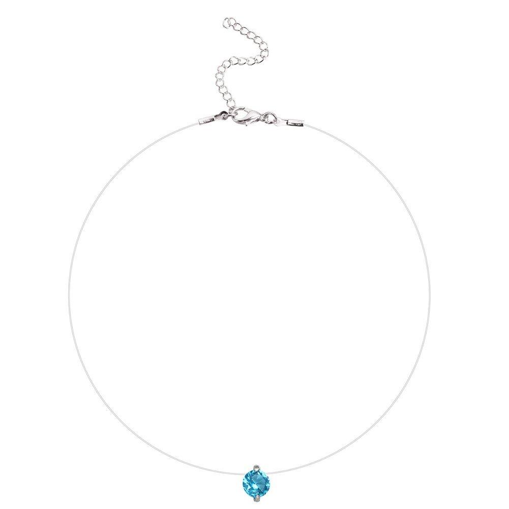 Gespout Femme Collier Fil Nylon Transparent Zircon Bleu D/écoration de Clavicule 35+5CM