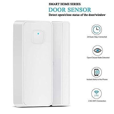 WiFi Door and Windows Sensor Smart Wireless Magnetic Compatible Alexa Google IFTTT No Hub Required App Security Burglar Alert Ideal for Garage Apartment Dorm Office