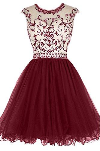 da vestito vestito sera ressing girocollo Liebling pietre Rueckenfrei ivyd cocktail Mini Fest rosso da abito Damen vivo festa 1fn6xUq