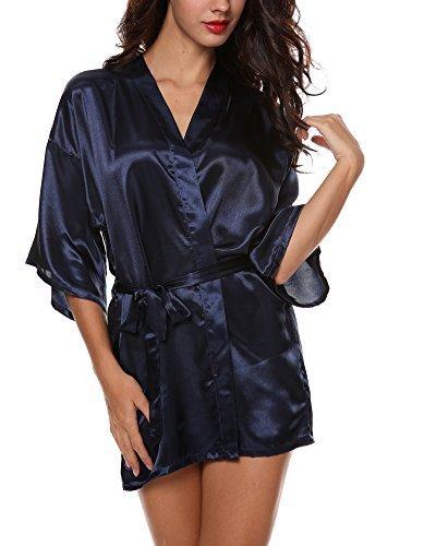 Avidlove Damen Kimono Morgenmantel im edler Satinoptik Negligee Nachtwäsche Seidenrobe kurz