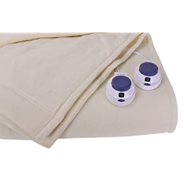 Soft Heat Luxury Micro-Fleece Low-Voltage Electric Heated Queen Size Blanket, Natural
