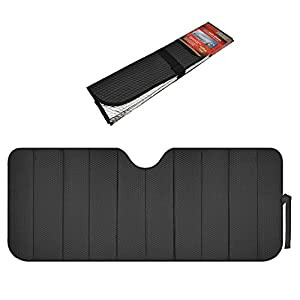Motor Trend Front Windshield Sun shade - Accordion Folding Auto Sunshade for Car Truck SUV 58 x 24 Inch (Black)