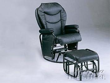 Strange Swivel Glider Rocker Chair With Ottoman Black Leatherette Inzonedesignstudio Interior Chair Design Inzonedesignstudiocom