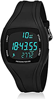 Pedometer Watch for Kids, Unisex Digital Sports Watch with Stopwatch/Steps Counter/Alarm/El-Backlight/Calendar