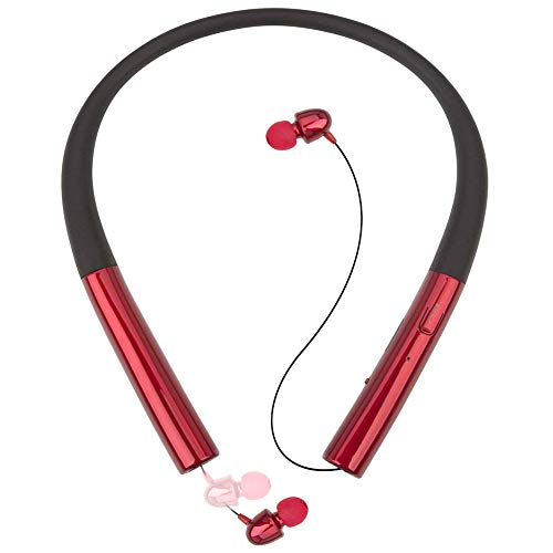 Retractable Bluetooth Headset Pianogic HB-905 V4.0 Music Sport Wireless Neckband Magnetic Stereo Noise Cancelling Sweatproof Earphones Retractable Earbuds and Call in Vibration Reminder (Red)